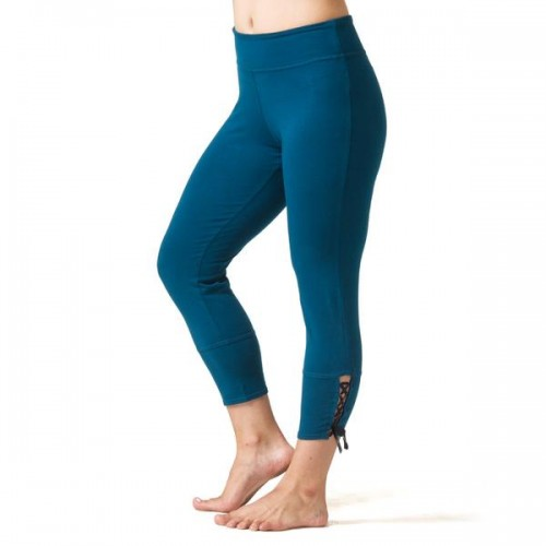 Love Lace-up Capri Leggings - Teal