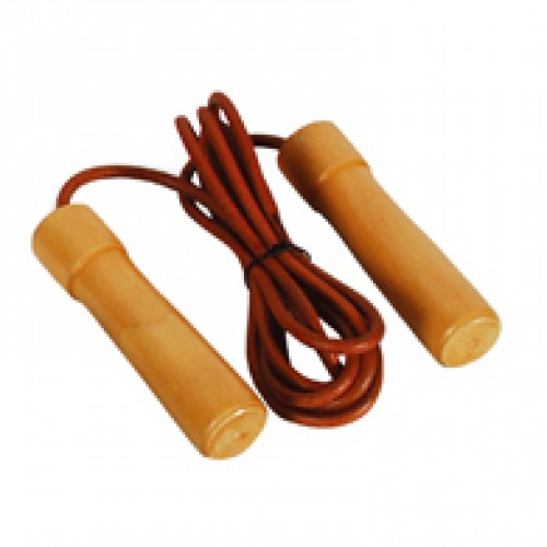 Pro Leather Wood/Bearing Handle Jump Rope