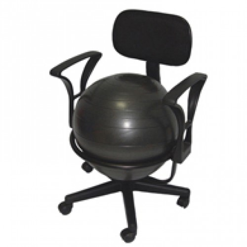"Mobile Metal Ball Chair with 22"" Ball with Back and Arms"