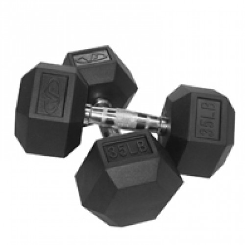 Rubber Hex Dumbbell-45 lb Single